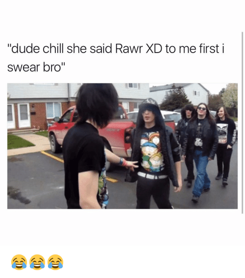 "Funny, First, and I Swear: ""dude chill she said Rawr XD to me first i  swear bro"" 😂😂😂"