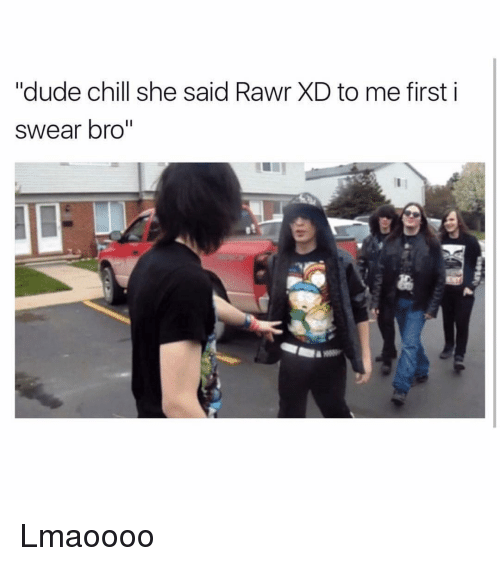 "Funny, First, and I Swear: ""dude chill she said Rawr XD to me first i  swear bro"" Lmaoooo"