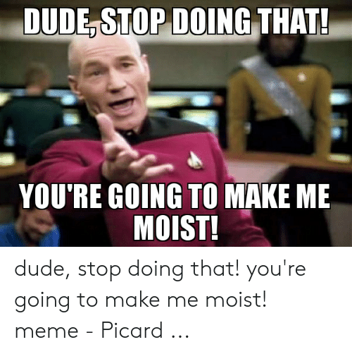 That Makes Me Moist Meme: DUDE STOP DOING THAT!  YOU'RE GOING TO MAKE ME  MOIST! dude, stop doing that! you're going to make me moist! meme - Picard ...