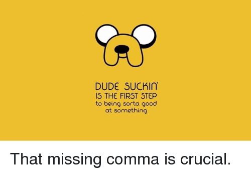 Funny: DUDE SUCK  IS THE FIRST STEP  to being sorta good  at something That missing comma is crucial.