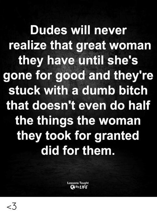 They Took: Dudes will never  realize that great woman  they have until she's  gone for good and they're  stuck with a dumb bitch  that doesn't even do half  the things the woman  they took for granted  did for them.  Lessons Taught  By LIFE <3