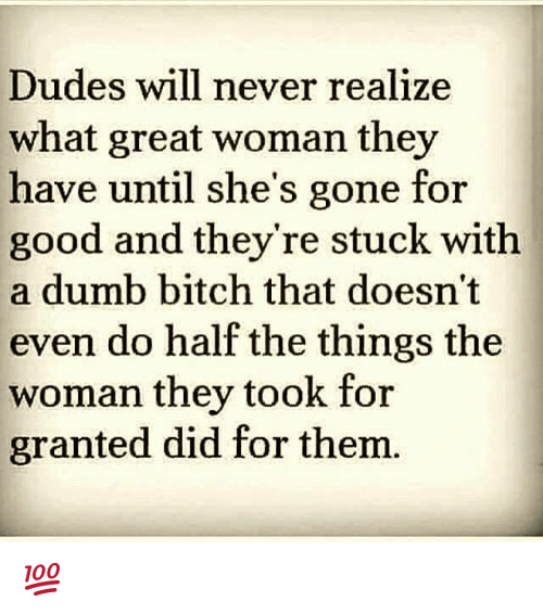 Bitch, Dude, and Dumb: Dudes will never realize  what great woman they  have until she's gone for  good and they're stuck with  a dumb bitch that doesn't  even do half the things the  woman they took for  granted did for them 💯