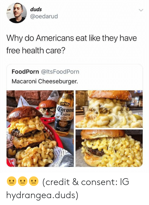 cheeseburger: duds  @oedarud  Why do Americans eat like they have  free health care?  FoodPorn @ltsFoodPorn  Macaroni Cheeseburger.  oron  ra 😐😐😐 (credit & consent: IG hydrangea.duds)