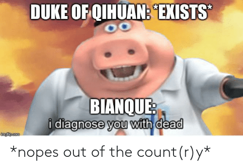 Nopes: DUKE OF QIHUAN: EXISTS  BIANQUE:  i diagnose you with dead  imgfip.com *nopes out of the count(r)y*