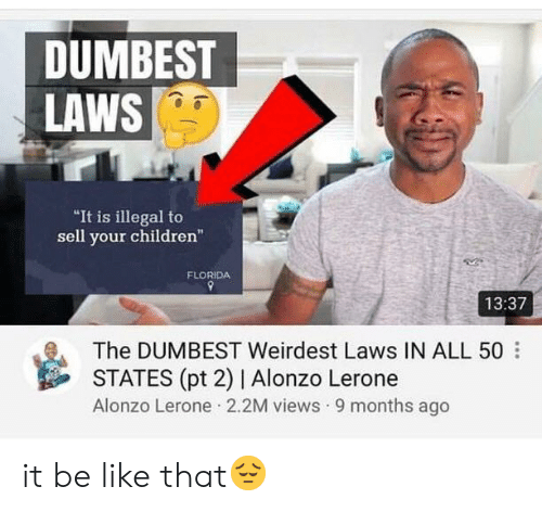 """Alonzo Lerone: DUMBEST  LAWS  It is illegal to  sell your children""""  FLORIDA  13:37  The DUMBEST Weirdest Laws IN ALL 50  STATES (pt 2) 