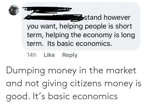 economics: Dumping money in the market and not giving citizens money is good. It's basic economics