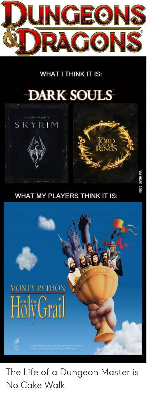 Dungeon Master: DUNGEONS  DRAGONS  WHAT I THINK IT IS:  DARK SOULS  SKYRIM  ORD  NGS  OF THE  WHAT MY PLAYERS THINK IT IS:  MONTY PYTHON  Holk Grail The Life of a Dungeon Master is No Cake Walk