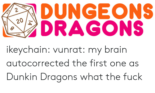 dungeons: DUNGEONS  GONS  8  020 ikeychain: vunrat:   my brain autocorrected the first one as Dunkin  Dragons what the fuck