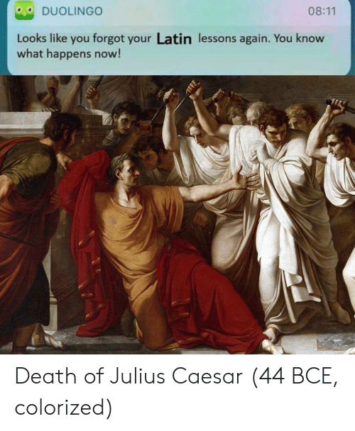 Julius Caesar: DUOLINGO  08:11  Looks like you forgot your Latin lessons again. You know  what happens now! Death of Julius Caesar (44 BCE, colorized)