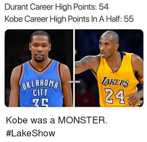Monster, Nba, and Kobe: Durant Career High Points: 54  Kobe Career High Points In A Half: 55  TAKERS  OKLAHOM  CITY Kobe was a MONSTER. #LakeShow