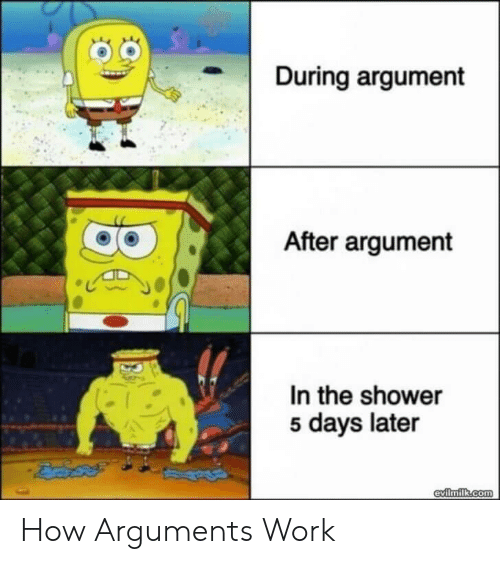 5 Days: During argument  After argument  In the shower  5 days later  evilmilk.com How Arguments Work