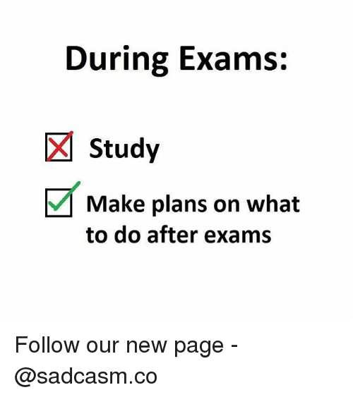 Memes, 🤖, and Page: During Exams:  Study  Make plans on what  to do after exams Follow our new page - @sadcasm.co