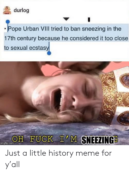 Ban: durlog  Pope Urban VIII tried to ban sneezing in the  17th century because he considered it too close  to sexual ecstasy  OH FUCK I'M SNEEZING  imgfip.com Just a little history meme for y'all
