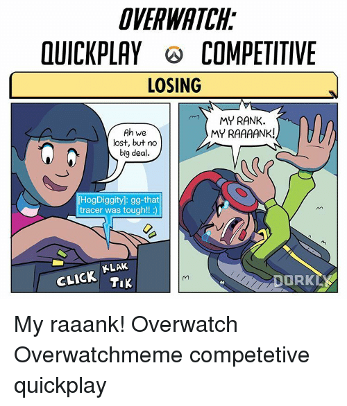 Click, Gg, and Memes: DVERWATAH  OUICKPLAY COMPETITIVE  LOSING  MY RANK  Ah We  MY RAAAANK!  lost, but no  big deal.  [HogDiggity]: gg-that  tracer was tough!!  CLICK KLAk My raaank! Overwatch Overwatchmeme competetive quickplay