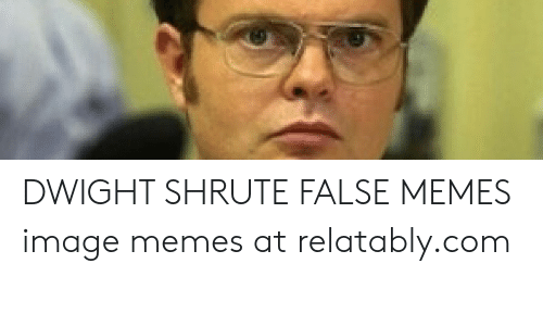 Relatably: DWIGHT SHRUTE FALSE MEMES image memes at relatably.com
