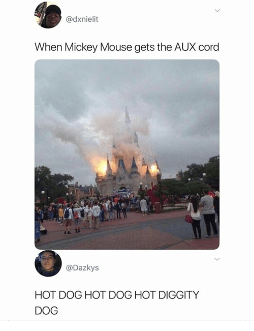 Mickey Mouse: @dxnielit  When Mickey Mouse gets the AUX cord  @Dazkys  HOT DOG HOT DOG HOT DIGGITY  DOG