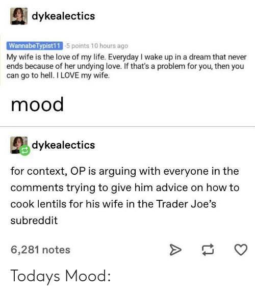 joes: dykealectics  WannabeTypist11 5 points 10 hours ago  My wife is the love of my life. Everyday I wake up in a dream that never  ends because of her undying love. If that's a problem for you, then you  can go to hell. I LOVE my wife.  mood  dykealectics  for context, OP is arguing with everyone in the  comments trying to give him advice on how to  cook lentils for his wife in the Trader Joe's  subreddit  6,281 notes Todays Mood: