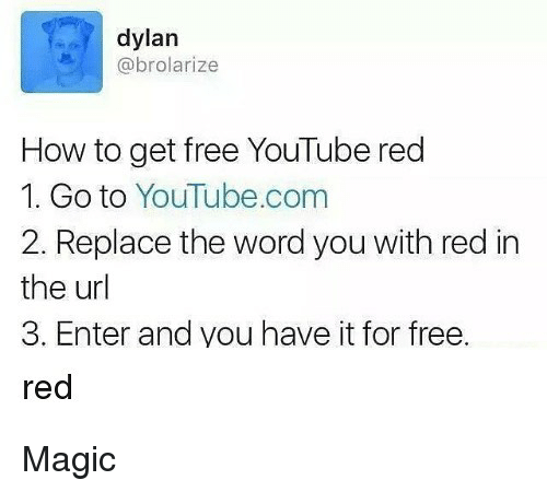 Memes, youtube.com, and Free: dylan  abrolarize  How to get free YouTube red  1. Go to YouTube.com  2. Replace the word you with red in  the url  3. Enter and you have it for free.  red Magic