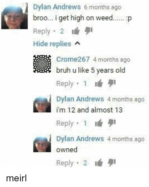 Im 12: Dylan Andrews 6 months ago  broo.. i get high on weed... p  Reply 2 I  Hide replies  Crome267 4 months ago  bruh u like 5 years old  Reply. 1 lá  Dylan Andrews 4 months ago  im 12 and almost 13  Reply 1  Dylan Andrews 4 months ago  owned  Reply 2 meirl