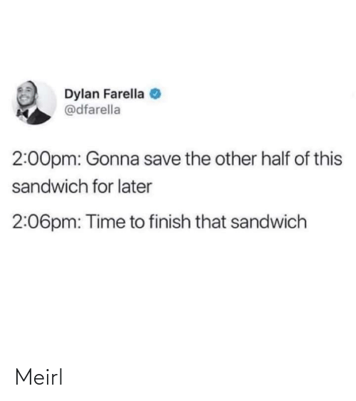 dylan: Dylan Farella  @dfarella  2:00pm: Gonna save the other half of this  sandwich for later  2:06pm: Time to finish that sandwich Meirl