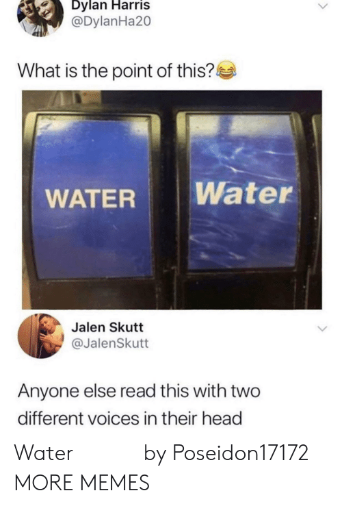 dylan: Dylan Harris  @DylanHa20  What is the point of this?  Water  WATER  Jalen Skutt  @JalenSkutt  Anyone else read this with two  different voices in their head Water 𝒲𝒶𝓉𝑒𝓇 by Poseidon17172 MORE MEMES