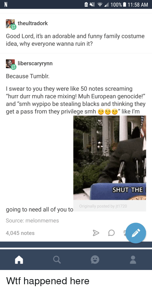 """Funny Family: e  100%  1 1:58 AM  theultradork  Good Lord, it's an adorable and funny family costume  idea, why everyone wanna ruin it?  liberscaryrynn  Because Tumblr.  I swear to you they were like 50 notes screaming  """"hurr durr muh race mixing! Muh European genocide!""""  and """"smh wypipo be stealing blacks and thinking they  get a pass from they privilege smh ', like I'm  SHUT THE  Originally posted by jt1720  going to need all of you to  Source: melonmemes  4,045 notes <p>Wtf happened here</p>"""