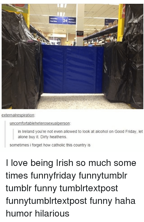 Irish, Memes, and Dirty: E 24 E  externalrespiration:  leh  ual  in Ireland you're not even allowed to look at alcohol on Good Friday, let  alone buy it. Dirty heathens.  sometimes forget how catholic this country is I love being Irish so much some times funnyfriday funnytumblr tumblr funny tumblrtextpost funnytumblrtextpost funny haha humor hilarious
