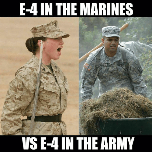 Memes, Marines, and 🤖: E-4 IN THE MARINES  VS E-4 INTHE ARM