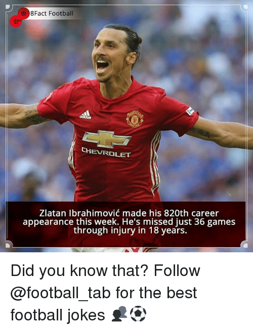 Memes, Chevrolet, and Zlatan Ibrahimovic: e 8Fact Football  CHEVROLET  Zlatan Ibrahimovic made his 820th career  appearance this week. He's missed just 36 games  through injury in 18 years. Did you know that? Follow @football_tab for the best football jokes 👥⚽️