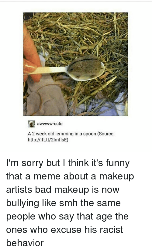 Bad, Cute, and Funny: E awwww-cute  A 2 week old lemming in a spoon (Source:  http://ift.tt/2lmflsE) I'm sorry but I think it's funny that a meme about a makeup artists bad makeup is now bullying like smh the same people who say that age the ones who excuse his racist behavior
