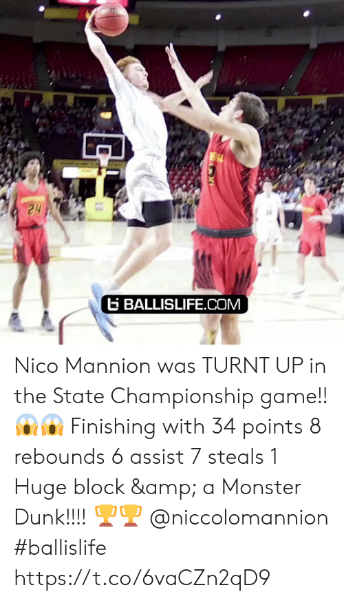 turnt up: E BALLISLIFE.COM Nico Mannion was TURNT UP in the State Championship game!! 😱😱 Finishing with 34 points 8 rebounds 6 assist 7 steals 1 Huge block & a Monster Dunk!!!! 🏆🏆 @niccolomannion #ballislife https://t.co/6vaCZn2qD9