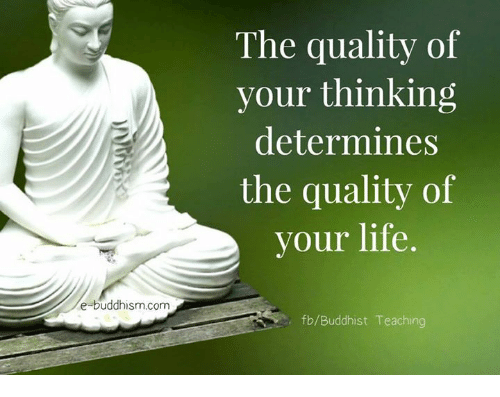 Life, Memes, and Buddhism: e-buddhism com  The quality of  your thinking  determines  the quality of  your life.  fb/Buddhist Teaching