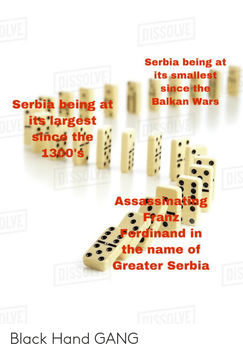 Greater Serbia: E  DISSOLVE  Serbia being at  its smallest  since the  Balkan Wars  DISSOLYE  Serbia being at  IVE its largest  since the  1300's  DiSsOLier  Assassmating  Franz  erdinand in  the name of  nisso Greater Serbia  DIS  VE Black Hand GANG
