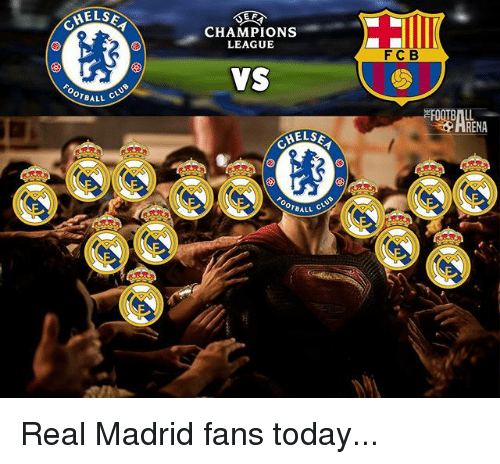 Club, Memes, and Real Madrid: E F  ELSE  CHAMPIONS  LEAGUE  FCB  VS  OOTBALL  LSEA  OTBALL  11 CLUB Real Madrid fans today...