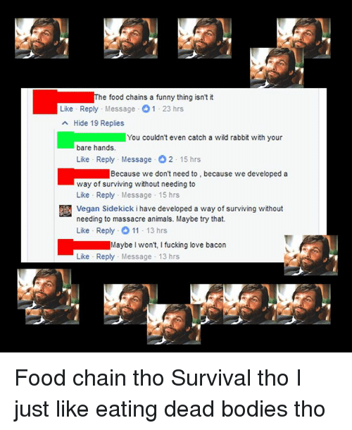 Massacreing: e food chains a funny thing isn't it  Like Reply Message O 1-23 hrs  a Hide 19 Replies  You couldn't even catch a wild rabbit with your  bare hands.  Like Reply Message O2-15 hrs  Because we don't need to, because we developed a  way of surviving without needing to  Like Reply Message 15 hrs  Vegan Sidekick ihave developed a way of surviving without  needing to massacre animals. Maybe try that.  Like Reply .0 11 13 hrs  Maybe won't, I fucking love bacon  Like Reply Message 13 hrs Food chain tho Survival tho I just like eating dead bodies tho
