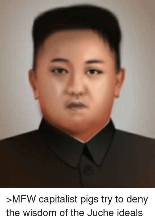 Mfw, Dank Memes, and Capitalist: e >MFW capitalist pigs try to deny the wisdom of the Juche ideals