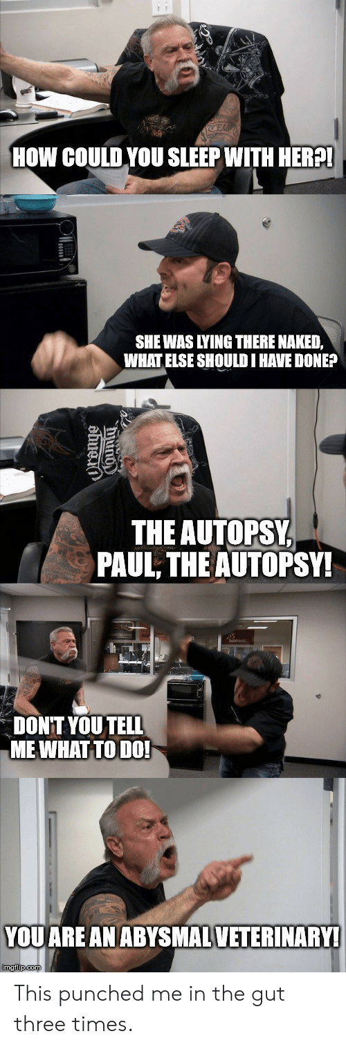 Three Times: E  HOW COULD YOU SLEEP WITH HER?!  SHE WAS LYING THERE NAKED,  WHAT ELSE SHOULD I HAVE DONE?  THE AUTOPSY  PAUL, THE AUTOPSY!  DONT YOU TELL  MEWHAT TO DO!  YOU ARE AN ABYSMALVETERINARY!  imgflip.com  ama This punched me in the gut three times.