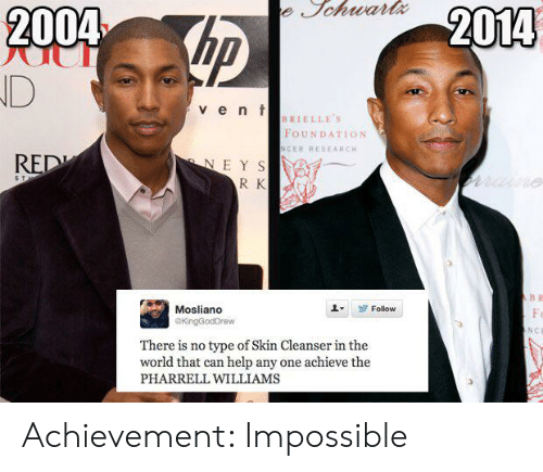 Pharrell Williams: e Jchwartx  hp  2004  2014  D  v ent  BRIELLE'S  FOUNDATION  NCER RESEARCH  RED  NEYS  R K  name  5 T  B R  Mosliano  Follow  Fo  GKingGodDrew  NCE  There is no type of Skin Cleanser in the  world that can help any one achieve the  PHARRELL WILLIAMS Achievement: Impossible