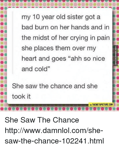 """damnlol: e  my 10 year old sister got a  bad burn on her hands and in  the midst of her crying in pain  she places them over my  heart and goes """"ahh so nice  and cold""""  She saw the chance and she  took it  VA THEMETAPICTURE.COM She Saw The Chance http://www.damnlol.com/she-saw-the-chance-102241.html"""