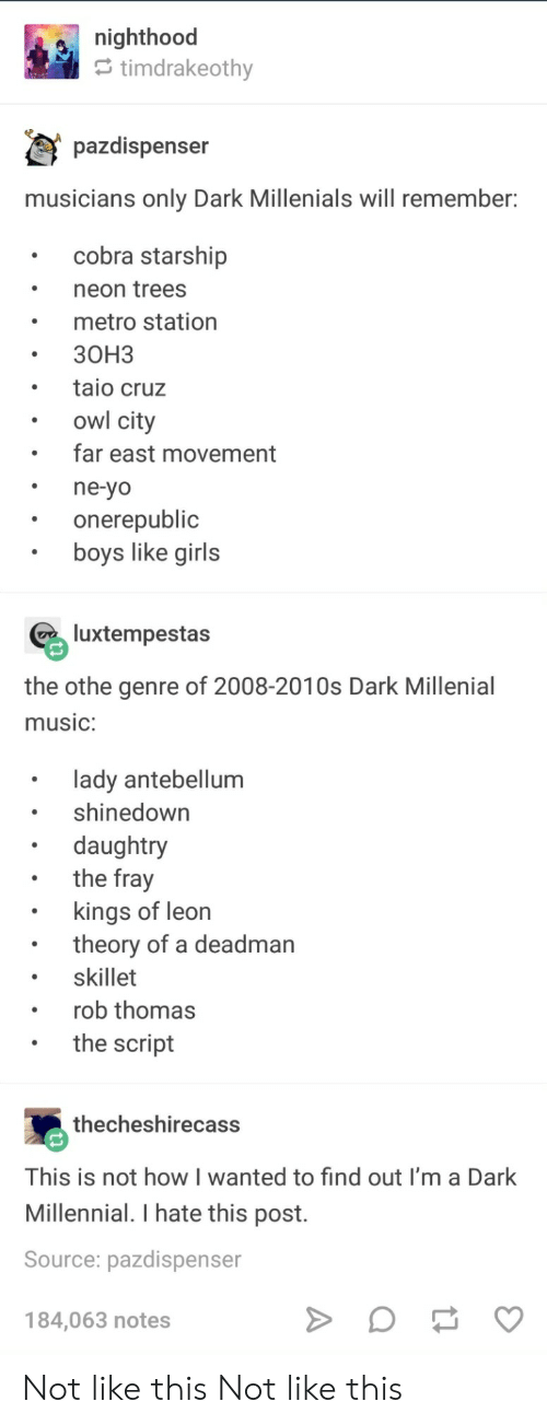 millenial: e nighthood  timdrakeothv  pazdispenser  musicians only Dark Millenials will remember  cobra starship  neon trees  metro station  30H3  taio cruz  owl city  far east movement  ne-yo  onerepublic  boys like girls  luxtempestas  the othe genre of 2008-2010s Dark Millenial  music:  lady antebellum  shinedown  daughtry  the fray  . kings of leon  . skillet  .the script  theory of a deadman  rob thomas  thecheshirecass  This is not how I wanted to find out I'm a Dark  Millennial. I hate this post.  Source: pazdispenser  184,063 notes Not like this Not like this
