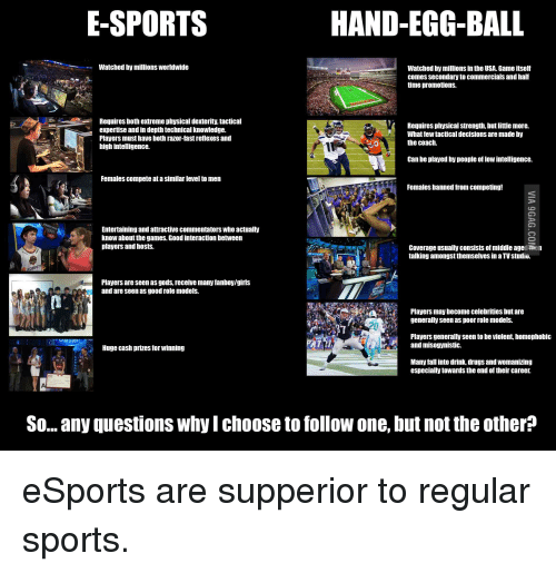 Drugs, Fall, and Sports: E-SPORTS  HAND-EGG-BALL  -Watched by millions Worldwide  Watched by millions in the USA. Game itself  comes secondary to commercials and half  ime promotions.  Requires both extreme physical dexterity, tactical  expertise and in depth technical knowledge.  Players must have both razor-fast reflexes and  high intelligence.  Requires physical strength, but little more.  What few tactical decisions are made by  the coach.  0  Can be played by people of low intelligence.  Females compete at a similar level to men  Females banned from competing!  Entertaining and attractive commentators who actually  know about the games. Good interaction between  players and hosts  Coverage usually consists of middle age men  talking amongst themselves in a TV studio.  kon  Players are seen as gods, receive many fanboy/giris  and are seen as good role models.  Players may become celebrities but are  generally seen as poor role modelS.  Players generally seen to be violent, homophobic  SAMSUNG  P and misogynistic.  Huge cash prizes for winning  Many fall into drink, drugs and womanizing  especially towards the end of their career.  So.. any questions why I choose to follow one, but not the other? eSports are supperior to regular sports.