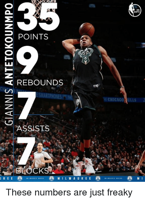 Chicago, Memes, and Milwaukee: E35  POINTS  REBOUNDS  SMARTPHONES  ASSISTS  MILWAUKEE  2  CHICAGO ULLS These numbers are just freaky
