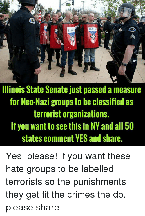 Neo Nazi: E5E  Ilinois State Senate just passed a measure  for Neo-Nazi groups to be classified as  terrorist organizations.  If you want to see this in NY and all 50  states comment YES and share Yes, please!  If you want these hate groups to be labelled terrorists so the punishments they get fit the crimes the do, please share!