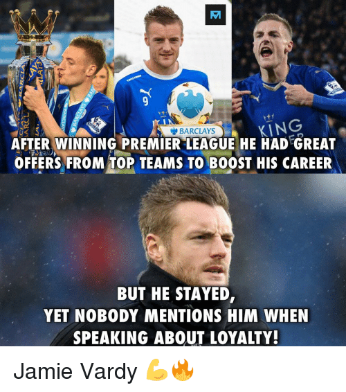 "Jamie Vardy: EA  BARCLAYS  AFTER WINNING PREMIER""LEAGUE HE HAD GREAT  OFFERS FROM TOP TEAMS TO BOOST HIS CAREER  BUT HE STAYED,  YET NOBODY MENTIONS HIM WHEN  SPEAKING ABOUT LOYALTY! Jamie Vardy 💪🔥"