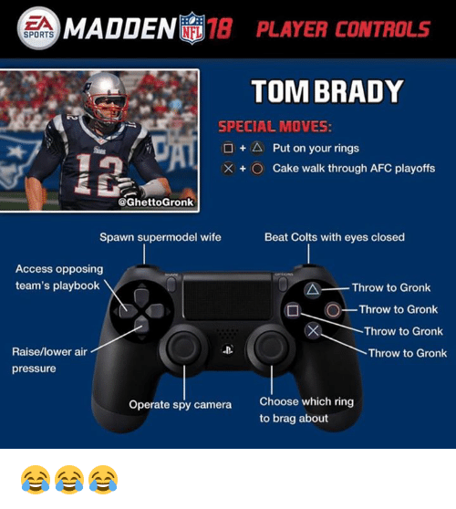 Indianapolis Colts, Nfl, and Pressure: EA  MAD  DEN 8 PLAYER CONTROLS  SPORTS  TOM BRADY  SPECIAL MOVES:  □ + △ Put on your rings  × + O Cake walk through AFC playoffs  @GhettoGronk  Spawn supermodel wife  Beat Colts with eyes closed  Access opposing  team's playbook  Throw to Gronk  O  Throw to Gronk  Throw to Gronk  Raise/lower air  Throw to Gronk  pressure  Choose which ring  to brag about  Operate spy camera 😂😂😂