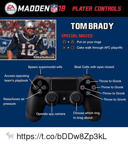 Indianapolis Colts, Football, and Nfl: EA  MADDENI 13 PLAYER CONTROLS  SPORTS  TOM BRADY  SPECIAL MOVES  □ + △ Put on your rings  + O  cake walk through AFC playoffs  @GhettoGronk  Spawn supermodel wife  Beat Colts with eyes closed  Access opposing  team's playbook  Throw to Gronk  Throw to Gronk  n Throw to Gronk  Throw to Gronk  Raise/lower air  Throw to Gronk  pressure  Choose which ring  to brag about  Operate spy camera 🐐 https://t.co/bDDw8Zp3kL