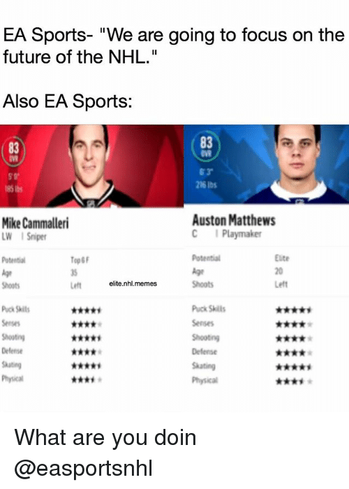 """Auston Matthews: EA Sports- """"We are going to focus on the  future of the NHL.""""  Also EA Sports:  83  83  216 lbs  Mike Cammalleri  LW ISriper  Auston Matthews  C Playmaker  Top&F  1S  Left  Eute  20  Let  Shoots  elite.nhl.memes  Shoots  Puck Skit  Puck Skill  Delense  Skating What are you doin @easportsnhl"""