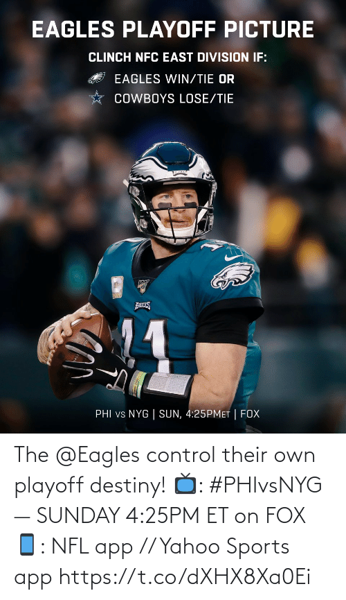 nfc east: EAGLES PLAYOFF PICTURE  CLINCH NFC EAST DIVISION IF:  EAGLES WIN/TIE OR  COWBOYS LOSE/TIE  FABLES  PHI vs NYG | SUN, 4:25PMET | FOX The @Eagles control their own playoff destiny!  📺: #PHIvsNYG — SUNDAY 4:25PM ET on FOX 📱: NFL app // Yahoo Sports app https://t.co/dXHX8Xa0Ei