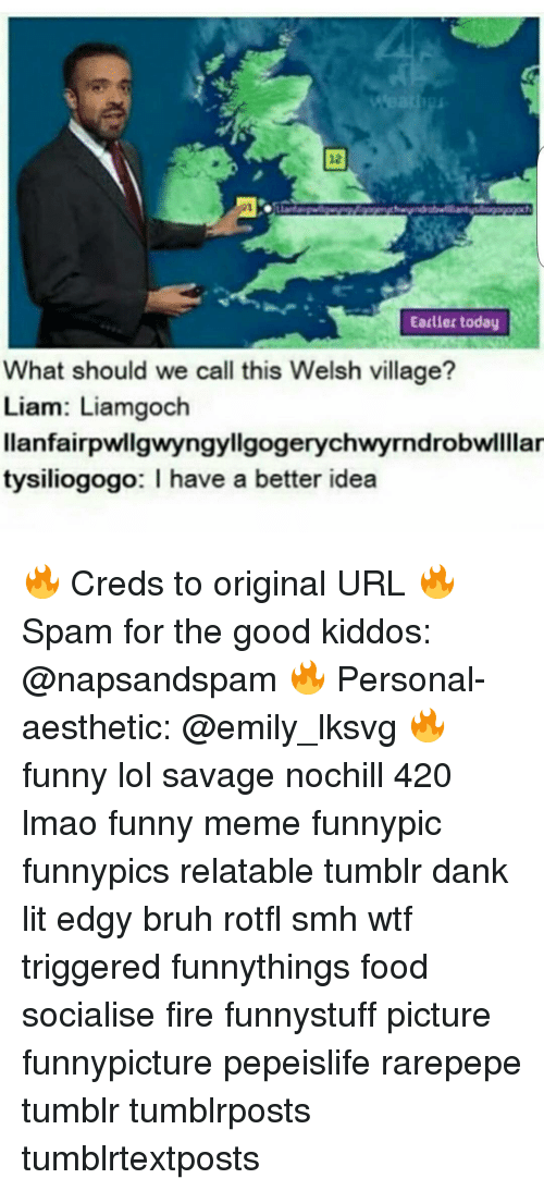 Earlier today what should we call this welsh village liam for Good url ideas