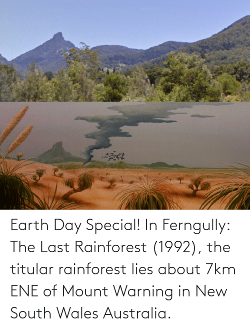warning: Earth Day Special! In Ferngully: The Last Rainforest (1992), the titular rainforest lies about 7km ENE of Mount Warning in New South Wales Australia.